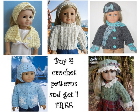 Buy 4 Crochet Patterns And Get 1 Free For Baby And Doll Etsy