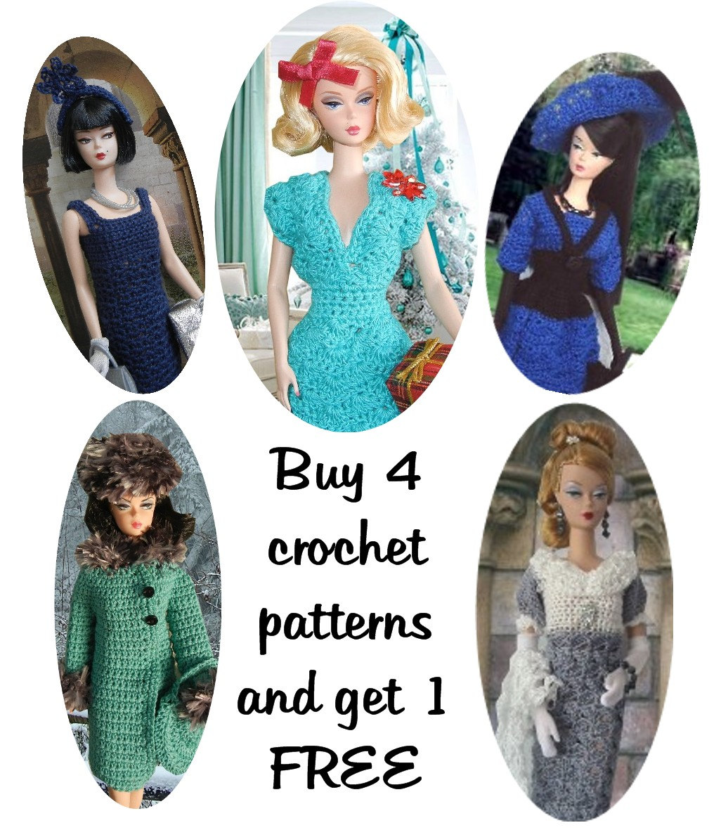 Buy 4 Crochet Patterns And Get 1 FREE For Baby And Doll