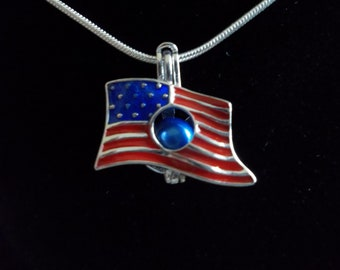 e474f91b7d7f American Flag Sterling Silver Cage Pendant comes w  One 7-8MM Round Akoya  AAA Loose Pearl