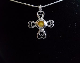Cross Sterling Silver Pearl Cage Pendant