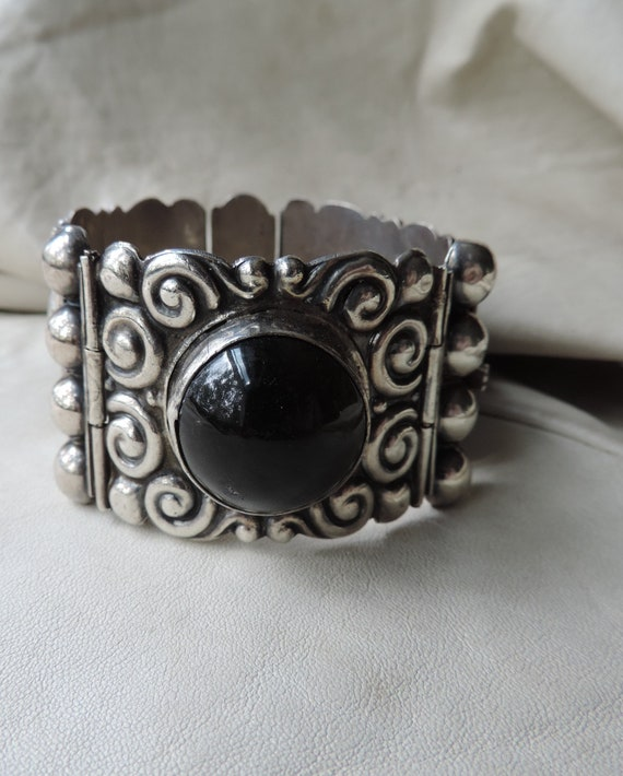 antique mexican bracelet sterling silver wide panel bracelet sterling panel bracelet mexico onyx bracelet