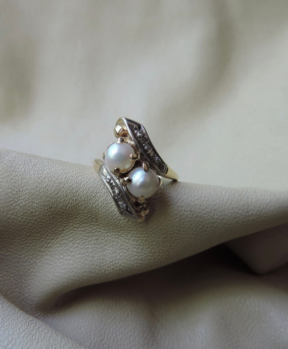 antique ring 10k gold ring double pearl diamond by