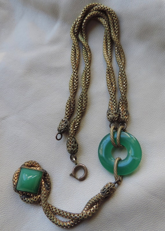 antique necklace twisted brass snake chain drop ne
