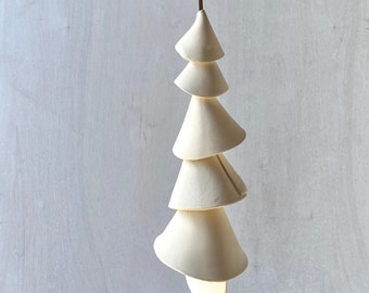 One white clay- Ceramic wind chime -wind chime-patio- wedding gift- wabi sabi- bell- gift for her- boyfriend gift-valentines gift-bell