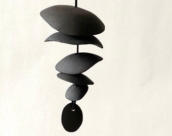 All Black clay- Ceramic wind chime- Handmade -wind chime-patio- wedding gift- wabi sabi- bell- gift for him- boyfriend gift-cabin wind chime