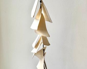 One white clay- Ceramic wall hanging-wrap wind chime-patio- wedding gift- wabi sabi- bell- gift for her- boyfriend gift-wind chimes,wabisabi