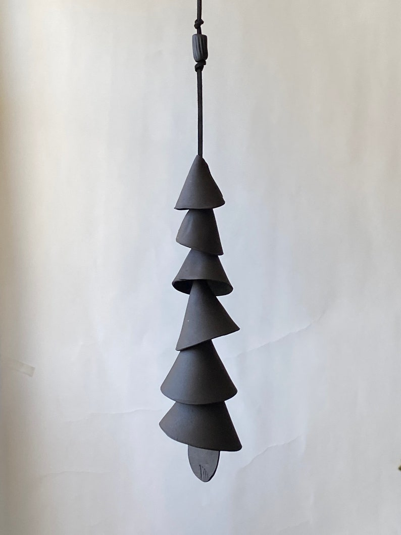 One Black Clay Ceramic Wind Chime Wrap Wind Chime Patio Etsy
