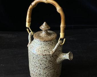 Wabi sabi stoneware teapot,Speckled teapot,funky teapot, small teapot, white teapot, wheel thrown teapot, gift for her, gift for mom, gift