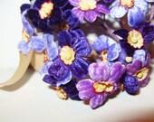 Vintage Velvet Millinery Flower Purple Lavender Violet WWII Era Hat Making Craft Supplies