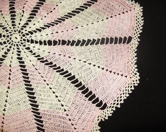 """Pink Vintage Doily Small Tablecloth 28"""" Pink & Cream Silky Crochet Doily"""