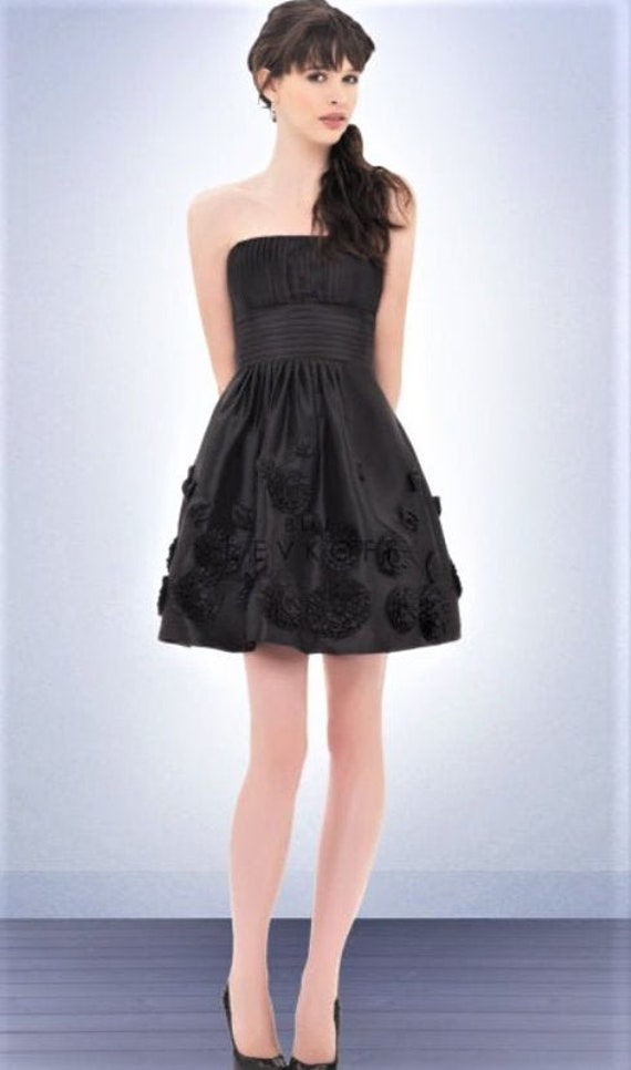 Black Strapless Dress Cocktail Evening Taffeta Flo
