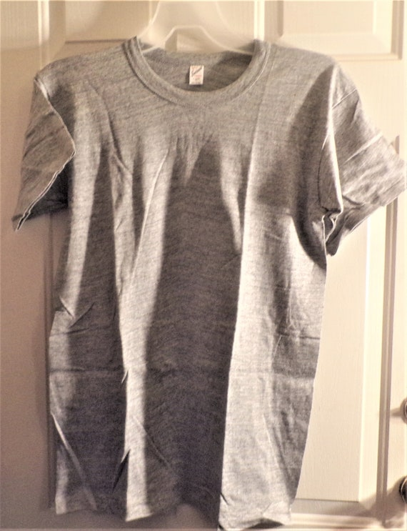 2 Mens Vintage Gray Tee T-shirts Quality Sportswea