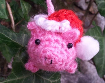 Christmas Pig - amigurumi pig decoration - pig tree ornament - crochet pig decoration - cute crocheted pig - pink pig