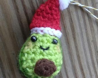 Feliz Avocad - cute crochet avocado tree ornament - amigurumi holiday decoration