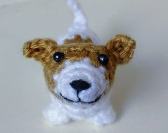 Mini Jack Russell Terrier - small stuffed crochet dog collectible