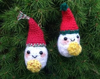 Yorick the Devilled Egg Ornament - cute crochet food Christmas tree decoration