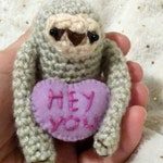 Valentine Sloth - amigurumi  with conversation heart - customizable