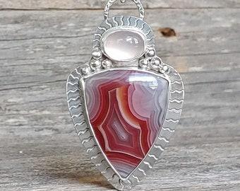 Laguna agate pendant necklace sterling silver stone artisan metalwork ooak