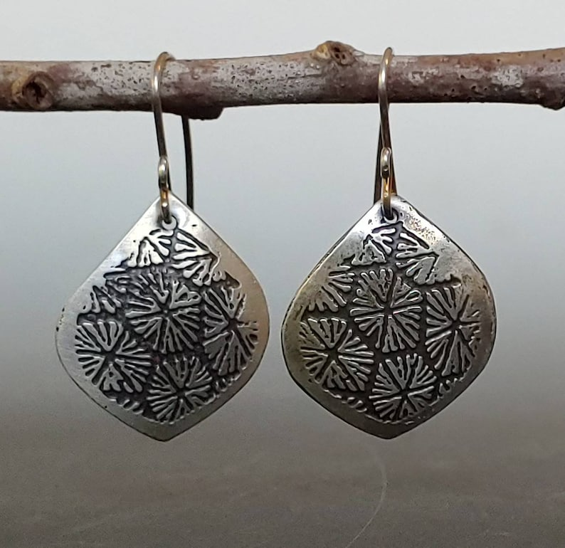 boho chic Etched sterling silver earrings with fossil coral pattern bohemian everyday earrings,