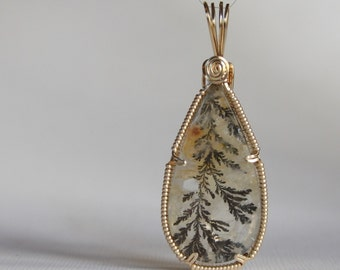 Dendritic Quartz Wire Wrapped Pendant in 14k Gold Filled