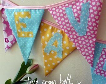 Personalised bunting - pink