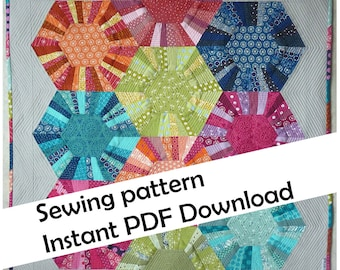 Hexa-scrappy quilt PDF sewing pattern