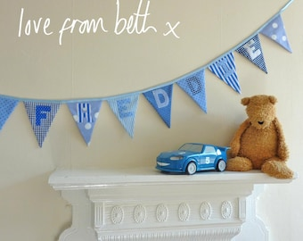 Personalised bunting - blue