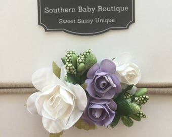 New Item--Boutique Baby Girl Hair Bows Spring Flower Bunch Headband--White    Lavender--Makes a Perfect Gift 69fcf99e7