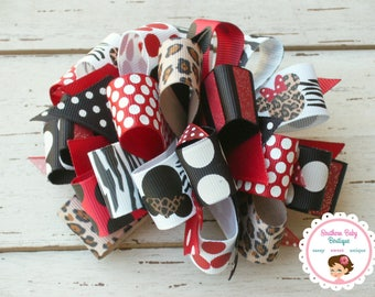 New Item--Over the Top Boutique Layered Hair Bow Clip--Loopity Loops--Safari Mouse---Red Black White
