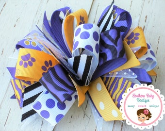New Item---Over the Top Boutique Layered Hair Bow Clip----Loopyity Loops---Paw Print & Tiger Stripes---Purple Gold White Black