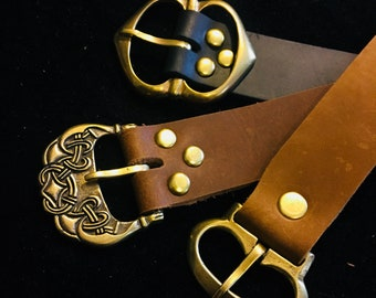 "Medieval Leather Belt- 1"" wide Long belt Viking, Historical, Ren Faire Pirate Steampunk brass buckle, brown/black  SCA Garb, LARP, Ren Faire"