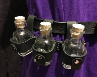Steampunk bottle holster, potions, vial, hanging bottles from your belt , 3 small jars in leather holster, brown or black