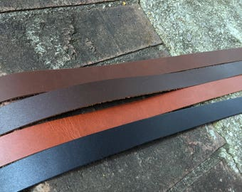 "Leather Strap, purse strap, leather Strip- brown, black, 3/4"" wide leather. 30, 45, 60 inch, for belts, perfect for purses, crafts, jewelry"