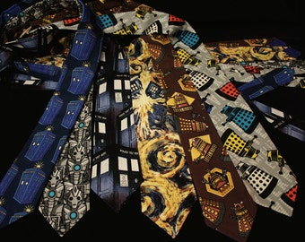 Doctor Who men's neck tie, gifts for nerd geek guys for him, Dalek, Cybermen, TARDIS, Steampunk Dalek by My Funky Camelot