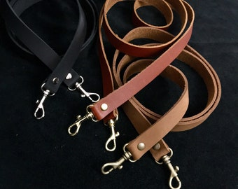 "Replacement leather purse straps. 3/4"" wide strap w/ snap hook, swivel hook leather purse strap brown, black, brass, silver, antique brass"
