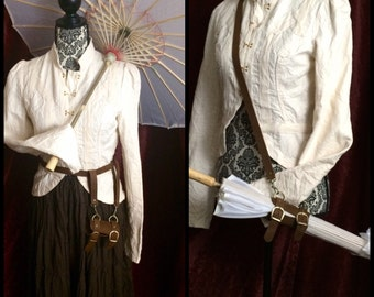Parasol Holster WITH silk parasol Steampunk umbrella, brown or black leather holster, shoulder strap or Beltloops, antique brass, Ren faire