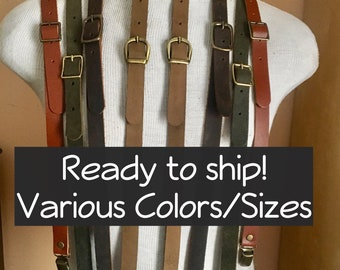 Leather Suspenders- READY TO SHIP steampunk wasteland Y back- unisex Browncoat costume, Brown or Black Braces w/snap hooks