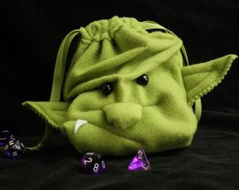 Dice Bag ORC Goblin drawstring pouch/ wristlet purse -Ogre Monster face plush DnD Magic Cards by MyFunkyCamelot GrimLok