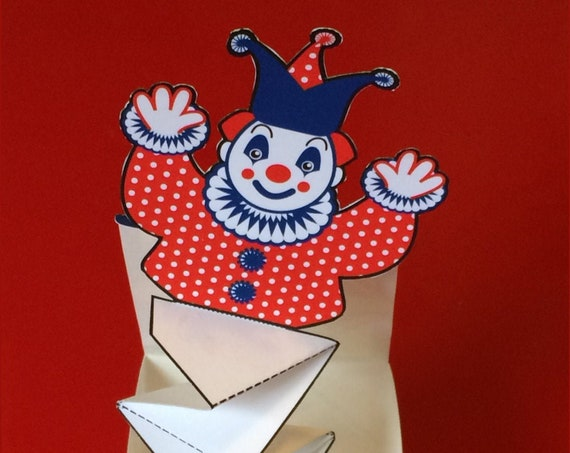 Happy Clown Jack in the Box Pop Up Printable file DIY Toy