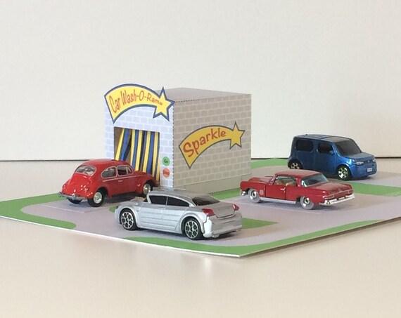 Toy Car Wash Printable PDF Playset Paper Craft