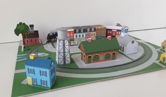 Model Train Layout Printable PDF Paper Craft
