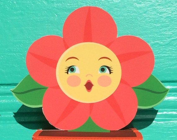 Anthropomorphic Flower in Flowerpot Favor Boxes DIY Printable File Craft