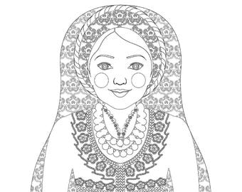 Ndebele South African Matryoshka Coloring Sheet Printable