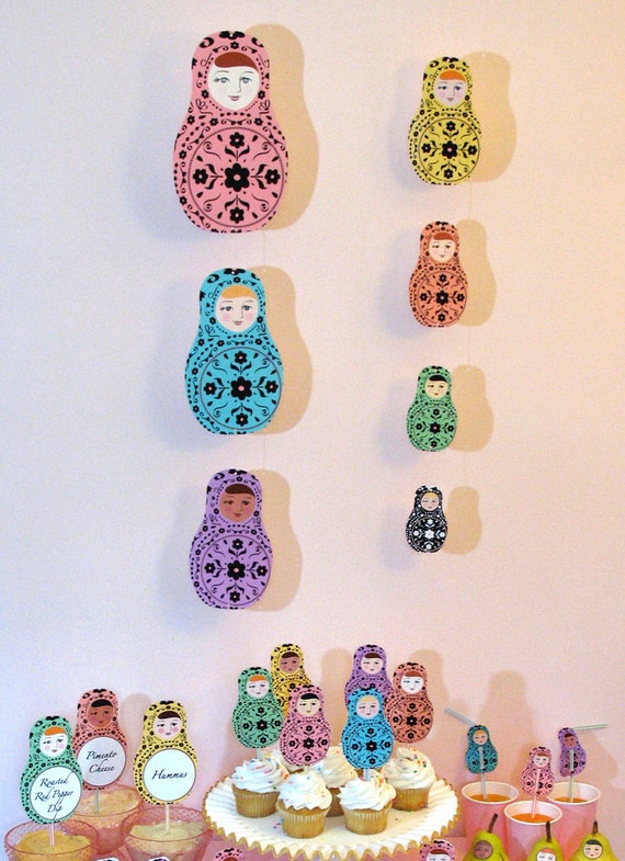 Matryoshka Party Decorations Printable File, Russian Dolls