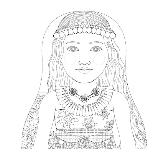 Marshallese Doll Traditional Dress Coloring Printable Matryoshka