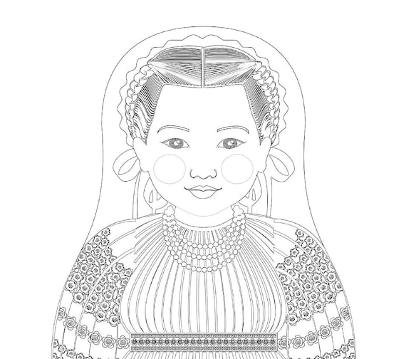 Croatian Doll Traditional Folk Dress Coloring Sheet Printable