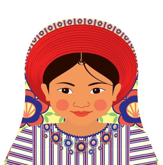 Guatemalan Doll Art Print with traditional folk dress, matryoshka