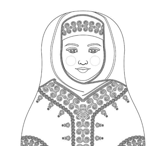 Saudi Doll Traditional Dress Coloring Sheet Printable Matryoshka