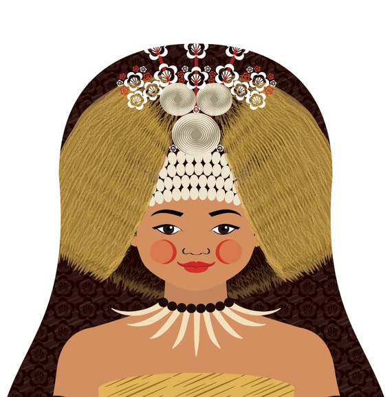 Samoan Doll Art Print with traditional folk dress, matryoshka