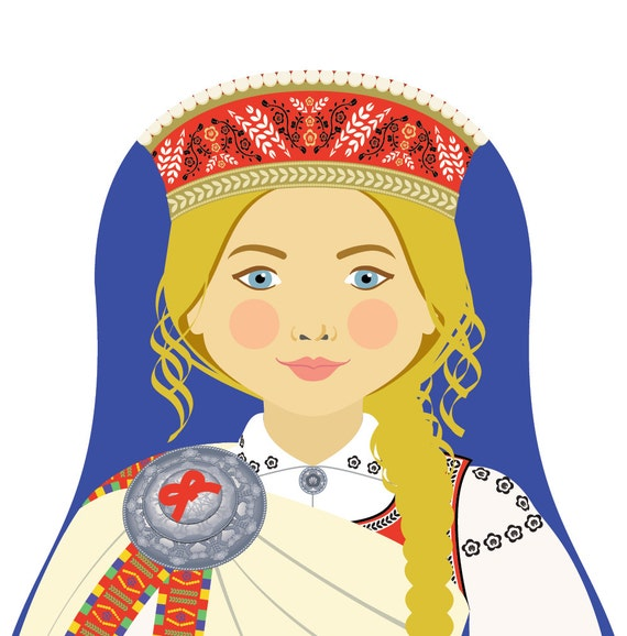 Latvian Doll Art Print with traditional folk dress, matryoshka
